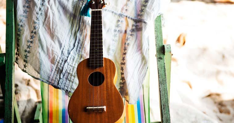 rewards of self-care, guitar outdoors