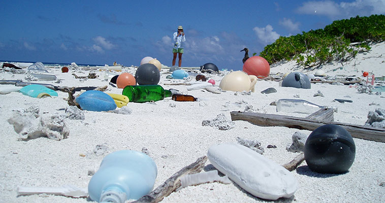 Save World From Plastic Pollution, Beach Covered With Plastic Trash