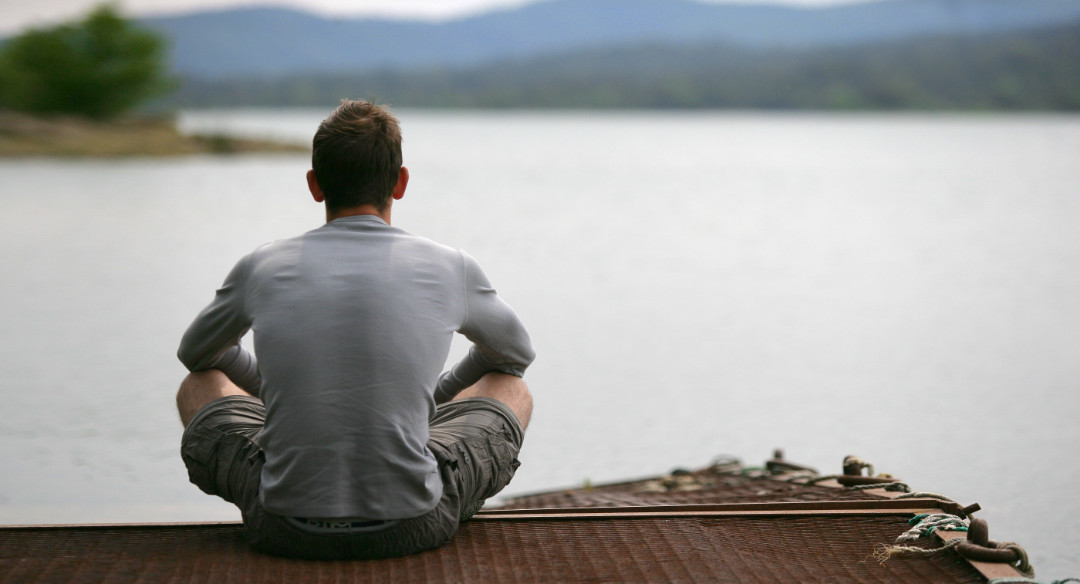 Self-care Activities, Seated Man Looking At Lake