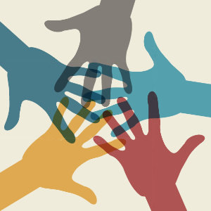 defining diversity, overlapping colorful hands graphic