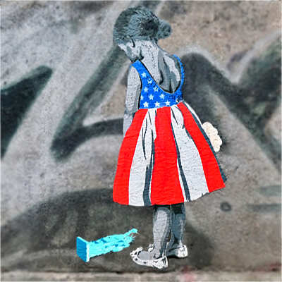 equality and diversity, young girl with American flag dress looking at miniature lady liberty on the ground