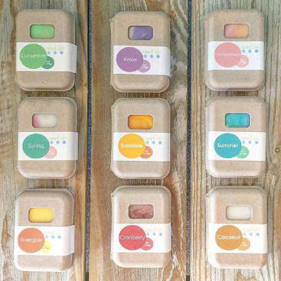 sustainable innovation, all natural soaps in paper packaging